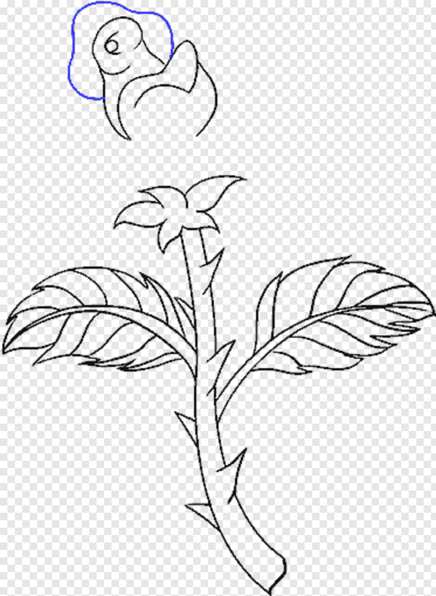 Rose Drawing - Draw A Rose Stem, HD Png Download