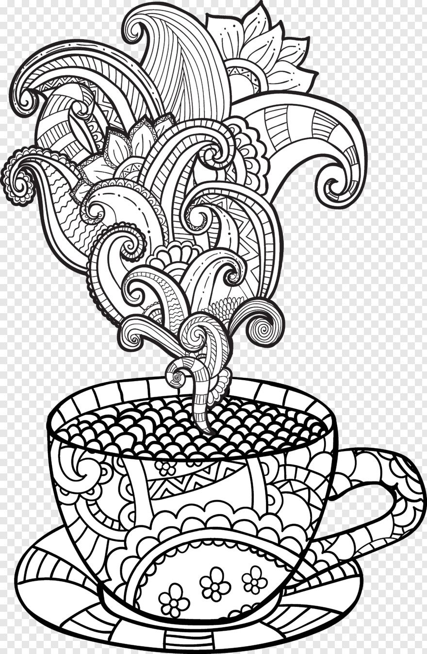 White Circle - Adult Coloring Page Coffee Cup, HD Png Download - 3458x5295 (#364150) PNG Image ...