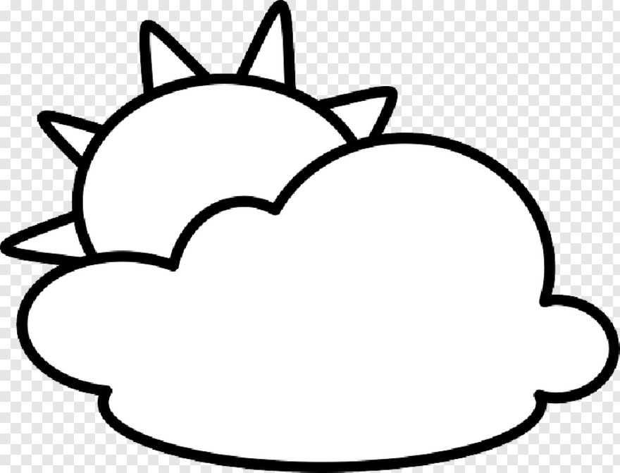 Sunny Sun And Clouds Clipart Black And White Transparent Png