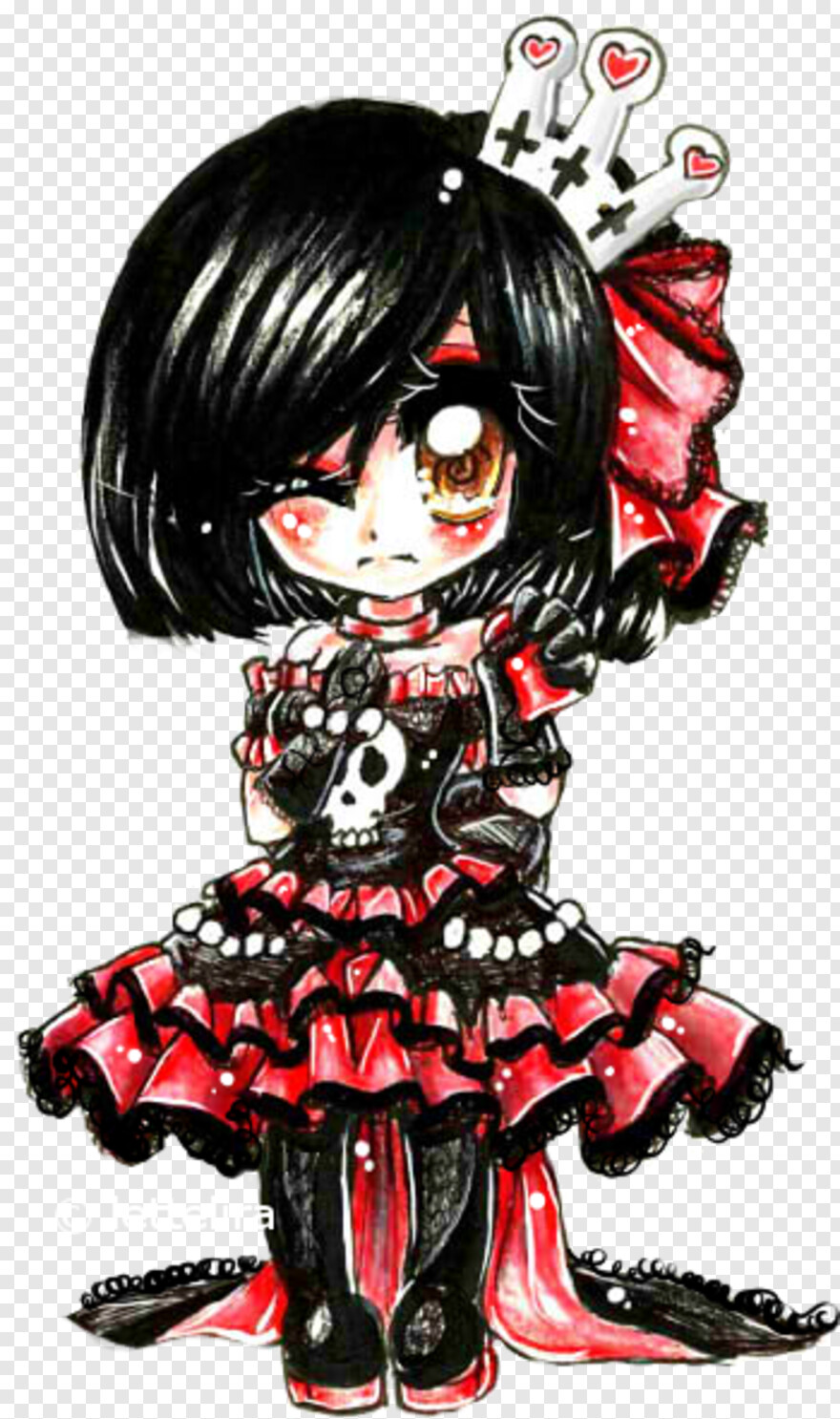 Goth - Chibi Anime Gothic Girl, Png Download - 10x10 (#10