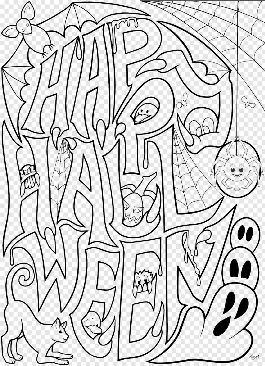 Original Stamp Happy Halloween Coloring Pages For Adults Png Download 1191x1643 5301129 Png Image Pngjoy