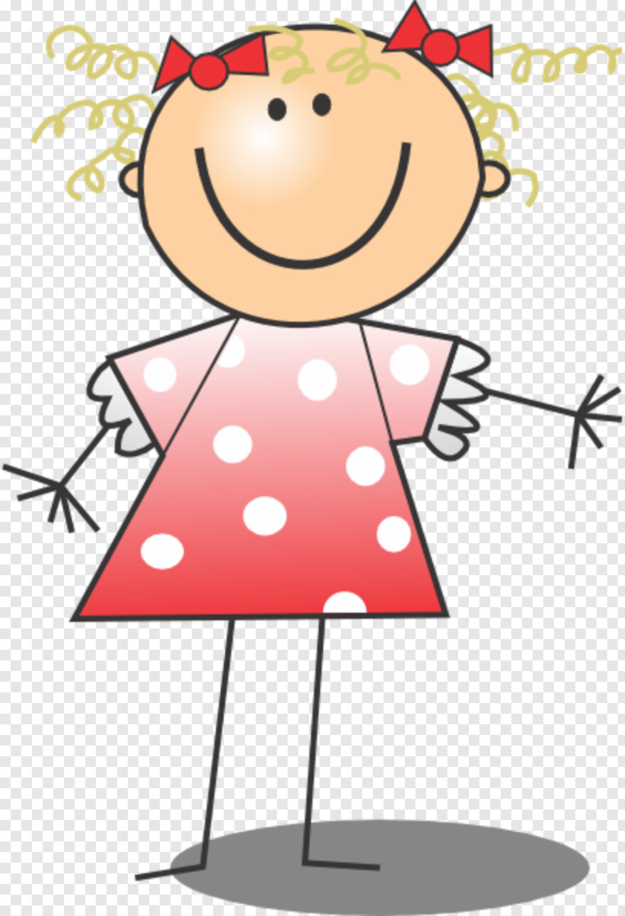 Polka Dot Background - Cartoon Stick Figure Girl Charms, HD Png Download