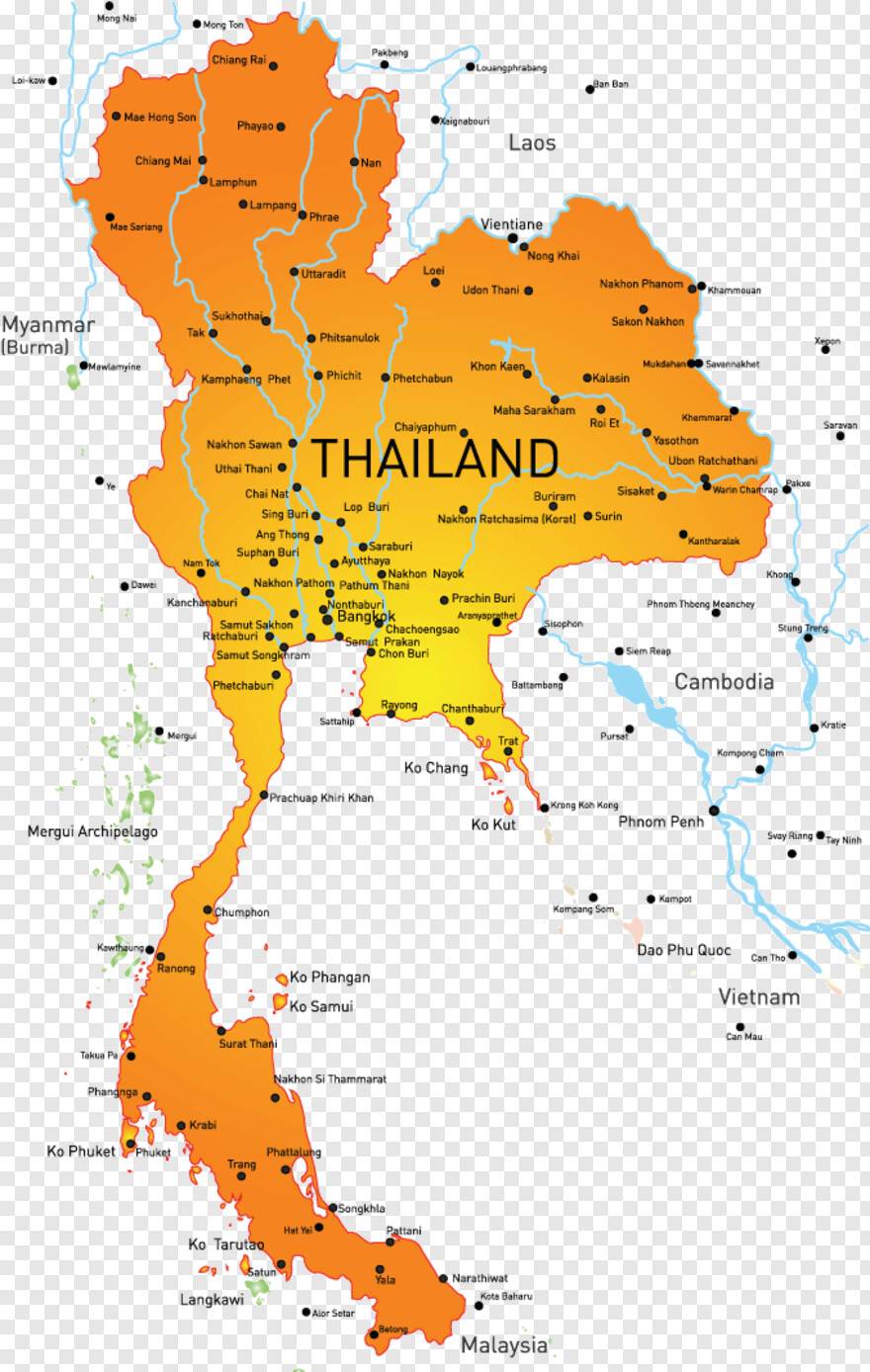 detailed maps of thailand - HD860×1146