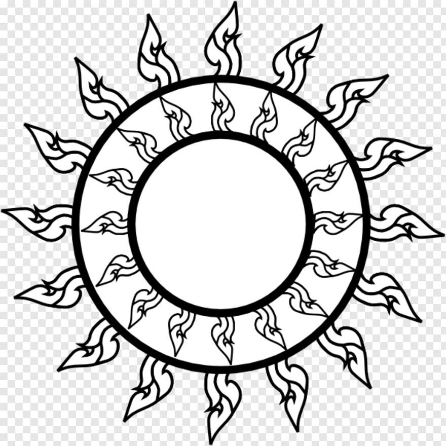 Sun Clipart Black And White Thai Art Png Transparent Png