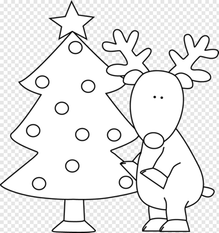 White Christmas - Christmas Tree Black And White Transparent Png