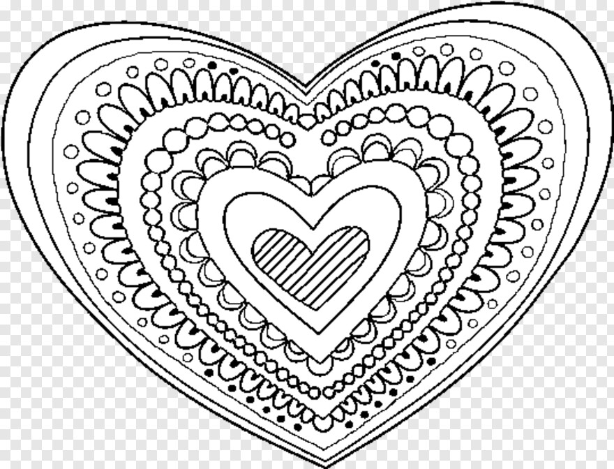 Detailed Zentangle Human Heart Coloring Page | 672x880