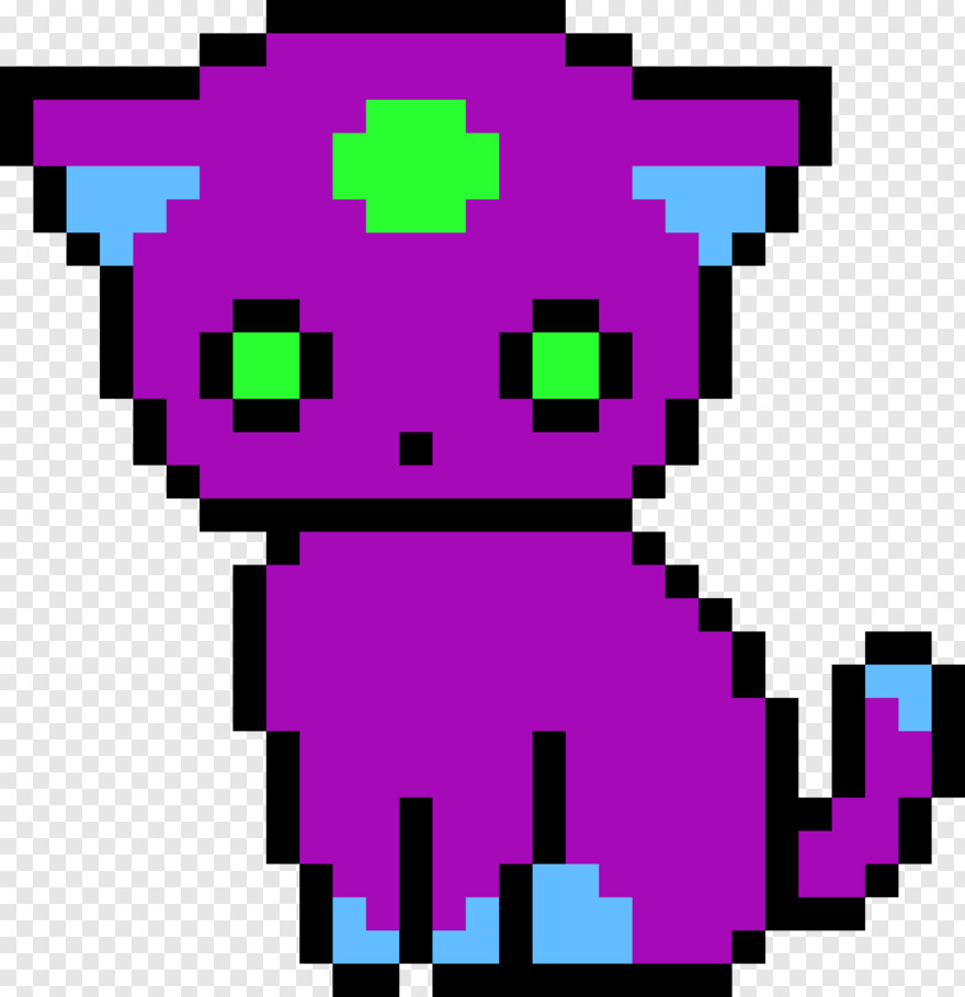Green Eye Unicorn Kitty Pixel Art Hd Png Download