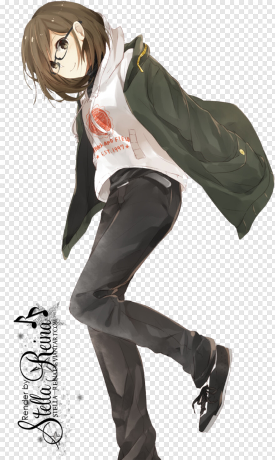 Anime Glasses Short Brown Haired Anime Girl Hd Png Download 500x785 10165745 Png Image Pngjoy